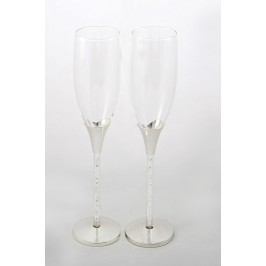 Glass for champagne 2pcs. The leg is half full of crystals
