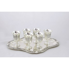A metal cups on a tray 6 pcs