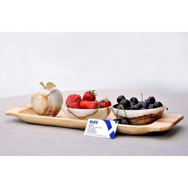Komplektas: Onikso dubenėliai ir obuolys ant medinio padėklo