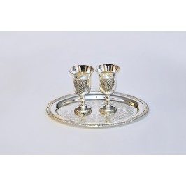 METAL CUPS ON A TRAY 2PCS