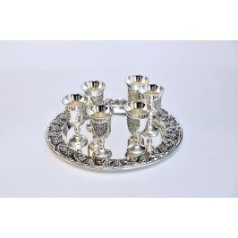 A metal cups on an oval tray 2pcs