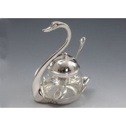 "Sugar-basin ""Swan"" with a teaspoon"