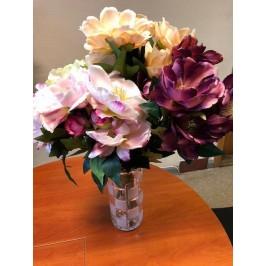 Dirbtinės gėlės magnolijos pagamintos iš satino,9 žiedai