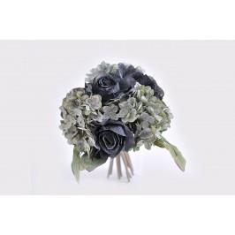 Rožių puokštė su hortenzijomis melsvos spalvos